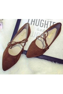 ​Point Head Suede Brown Bow Ballet Flats Ballerina Shoes