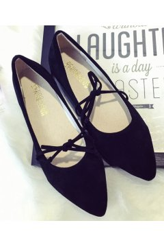 Point Head Suede Black Bow Ballet Flats Ballerina Shoes