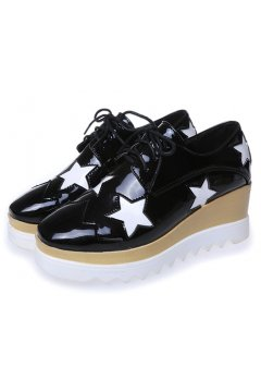 ​Black Patent Leather White Stars Lace Up Platforms Wedges Oxfords Women Shoes