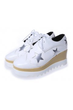 ​White Patent Leather Silver Stars Lace Up Platforms Wedges Oxfords Women Shoes