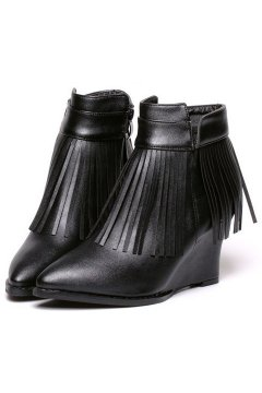 ​Black Fringes Punk Rock Ankle Wedges Ankle Boots Shoes