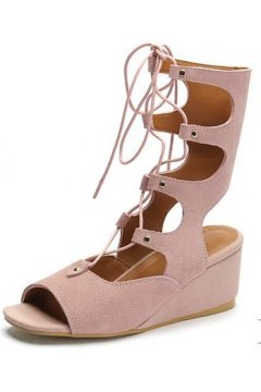 Straps Suede Pink Gladiator High Top Roman Mid Length Boots Wedges Sandals Shoes