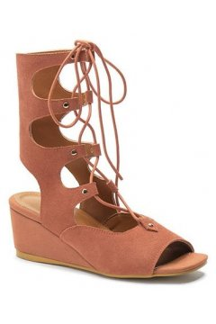 ​Straps Suede Orange Gladiator High Top Roman Mid Length Boots Wedges Sandals Shoes