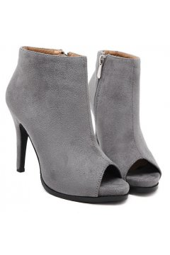 Suede Peep Toe Grey Ankle Boots Stiletto Heels Shoes