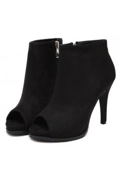​Suede Peep Toe Black Ankle Boots Stiletto Heels Shoes