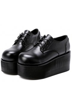 Black Leather Lace Up Punk Rock Gothic Chunky Platforms Creepers Oxfords Shoes
