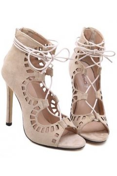 ​Peep Toe Straps Beige Suede Laser Hollow Out Stiletto High Heels Gladiator Pump Women Boots Shoes