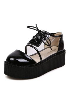 ​Black Patent Leather Transparent Lace Up Creepers Platforms Oxfords Shoes
