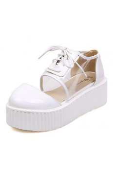 ​White Patent Leather Transparent Lace Up Creepers Platforms Oxfords Shoes