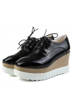 ​Black Leather Vintage Old School Blunt Head Lace Up Wedges Platforms Oxfords Shoes