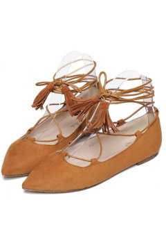 Point Head Suede Brown Strings Straps Warp Tassels Gladiator Ballet Flats Ballerina Shoes