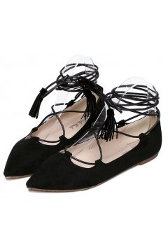 ​Point Head Suede Black Strings Straps Warp Tassels Gladiator Ballet Flats Ballerina Shoes