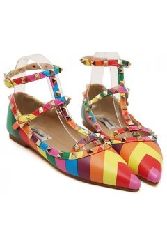 Metal Square Studs Rainbow Point Head Thin Straps Ballets Flats Shoes