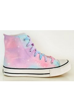Pink Blue Galaxy Universe Pastel Color Sky High Top Lace Up Sneakers Shoes