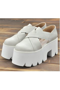 Grey Leather Cross Straps White Platforms Chunky Sole Shoes