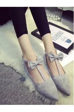 ​​Point Head Suede Grey Bow T Straps Ballet Flats Ballerina Shoes