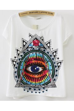 White Black Grey Colorful Tribal Totem Ethnic Eye Short Sleeves T Shirt