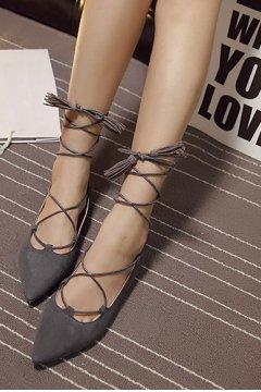 ​Point Head Suede Grey Strings Straps Warp Tassels Gladiator Ballet Flats Ballerina Shoes