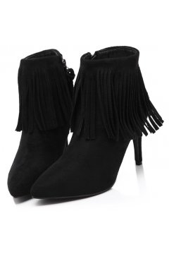 Black Ankle Fringes Suede Point Head Stiletto Heels Boots Shoes