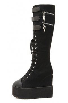 Black Lace Up Punk Rock Gothic Grunge Platforms Wedges Long Knee Sneakers Boots​