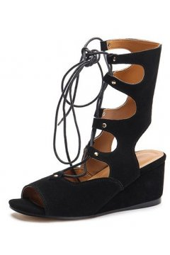 ​Straps Suede Black Gladiator High Top Roman Mid Length Boots Wedges Sandals Shoes