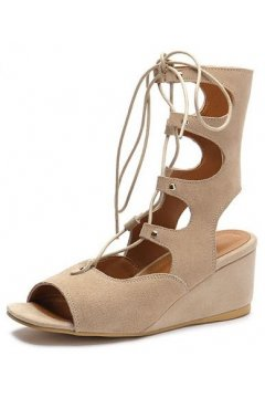 ​Straps Suede Brown Mocha Gladiator High Top Roman Mid Length Boots Wedges Sandals Shoes