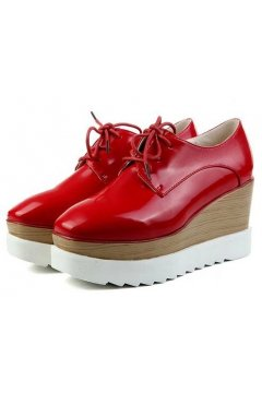 Red Leather Vintage Old School Blunt Head Lace Up Wedges Platforms Oxfords Shoes