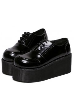 ​Black Leather Lace Up Baroque Punk Rock Gothic Chunky Platforms Creepers Oxfords Shoes