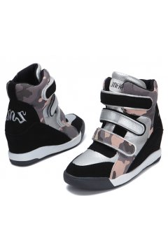 Black Pink Camouflage Military Pattern Hidden Wedges Ankle Sneakers