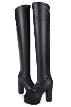 ​Black Faux Leather Stretchy Over Knee Long Platform Peep Toe Boots Shoes