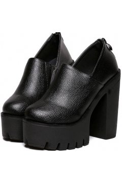 Black Leather Zipper Gothic Chunky Sole Heels Platforms Shoes