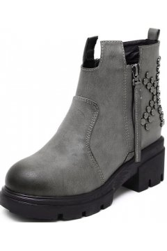 Grey Leather Rivets Side Zipper Punk Funky Hidden Wedges Ankle Women Shoes Boots