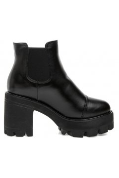 Black Leather Platforms Chunky Sole Heels Military Women Ankle Boots Shoes