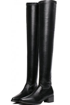 Black PU Leather Point Head Over Knee Long Boots Women Shoes