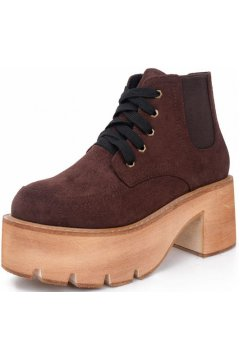 Suede Brown Platforms Lace Up Chunky Sole Heels Punk Rock Ankle Boots