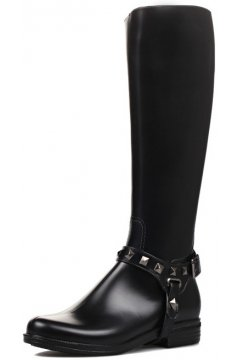 Black Polyresin Metal Studs Belts Punk Rock Gothic Wellington Wellies Long Knee Rain Boots Shoes