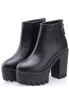 Black Leather Chunky Sole Heels Platforms Ankle Boots Shoes