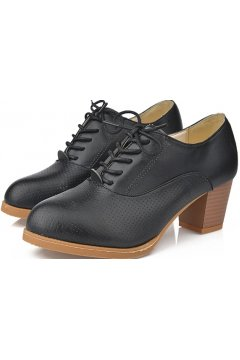 Black Leather Old School Oxfords Lace Up High Heels Ankle Boots Booties Women Shoes