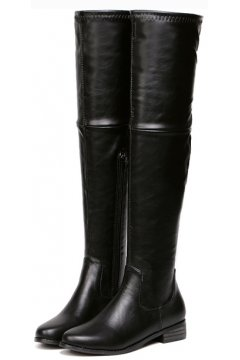 Black Faux Leather Stretchy Over Knee Point Head Long Military Rider Boots Shoes