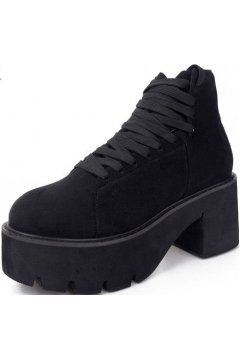 Black Suede Platforms Lace Up Chunky Sole Heels Punk Rock Ankle Boots