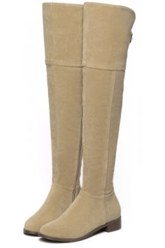 Brown Tan Velvet Suede Leather Over Knee Point Head Long Boots Shoes