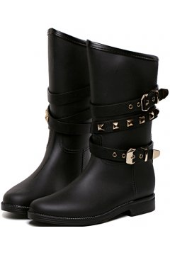 Black Metal Studs Belts Punk Rock Gothic Wellington Wellies Long Women Rain Boots Shoes