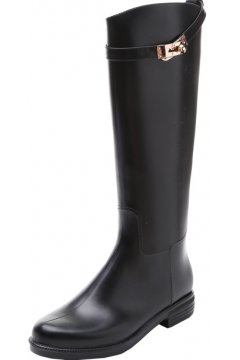 Black Polyresin Silver Metal Padlock Belts Punk Rock Gothic Wellington Wellies Long Knee Rain Boots Shoes