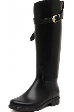 Black Polyresin Metal Padlock Belts Punk Rock Gothic Wellington Wellies Long Knee Rain Boots Shoes