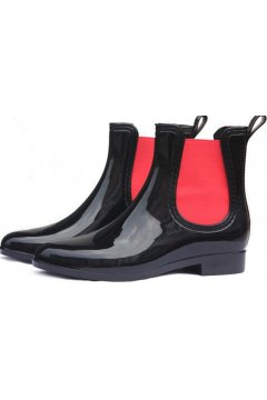 Black Red Polyresin Glossy Punk Rock Gothic Wellington Wellies Ankle Rain Boots Shoes