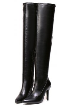 Black Faux Leather Stretchy Over Knee Point Head Long Stiletto Heels Boots Shoes