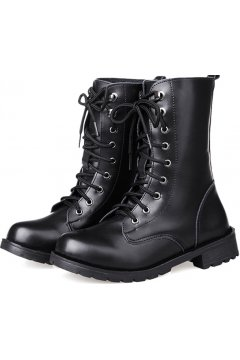 Black Leather Lace Up Combat Military Grunge Punk Rock High Top Boots Shoes