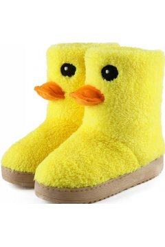 Yellow Duck Duckie Cute Mid Length Woolen Winter Boots Shoes