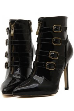 Black Patent Strappy Straps High Top Buckles Punk Rock Grunge Point Head Stiletto Heels Boots