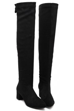 Black Suede Stretchy Over Knee Point Head Zipper Up Long Boots Women Shoes
